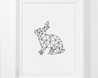 Rabbit Print, Geometric Rabbit Art, Rabbit, Animal Wall Decor, Digital Rabbit, Animal Art Prints Printable Animal Art, Digital Nursery Art