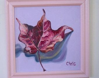 Pink & Rose Maple Leaf, New Original Oil Painting