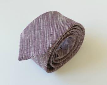 Purple Melange Linen Necktie- Mauve, Aubergine Linen Necktie- Men's Linen Tie- Wedding Ties- Groomsmen  Neckties