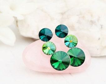 Emerald green Swarovski crystal earrings Bridesmaids wedding Swarovski jewellery Sterling Silver stud earrings  Emerald 3 Rivoli earring