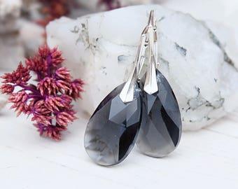 Sterling Silver Swarovski crystals earrings Grey Swarovski jewellery Wedding bridesmaids earrings Graphite dangle gold teardrop earrings 1