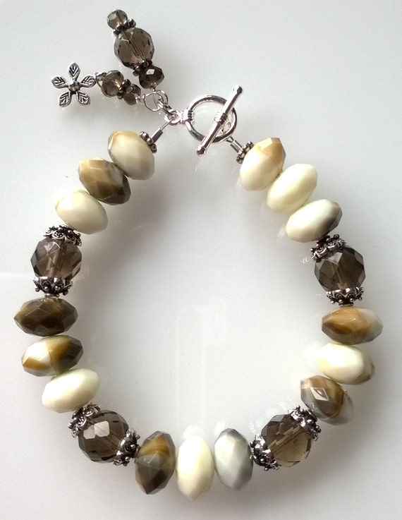 Brown Bracelet, White Bracelet, Acrylic Bracelet, Boho Bracelet, Smoky Quartz Bracelet