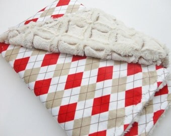 On Sale! Red and Tan Argyle Minky Baby Blanket - Ready To Ship