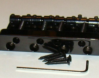 Replacement Bridge For Four or Five String ELECTRIC BASS GUITAR - Black Finish