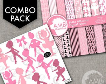 COMBO Little Pink Ballerinas Silhouette Clipart and Digital Papers Pack, Ballet Class, Party invitations, Recital, AMB-1722