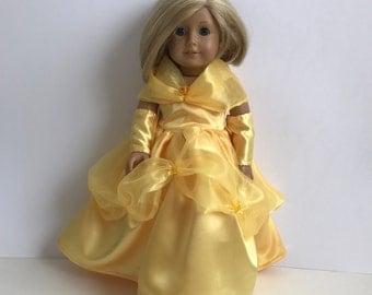 "Belle 18"" Doll 4 Piece Princess Dress Set - American Girl Doll Size"