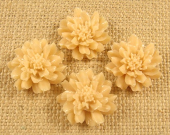 SALE AS IS  22 mm Beige Flat Back Resin Cabochon - 4 pcs