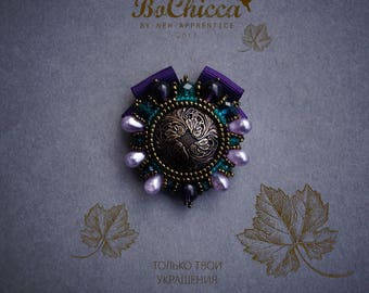 CHIANTI handmade brooch | violet, bronze, sea green, brooch, embroidered brooch, heraldic brooch, gift, hand embroidered textile jewelry
