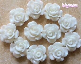 12 pcs 12 mm White cabochon Flower,white rose cabochon,flower kit,12 mm white rose resin flower,tiny cabochon Flowers,flat back flower
