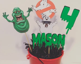 5 ghostbuster centerpiece sticks with personalized name and age