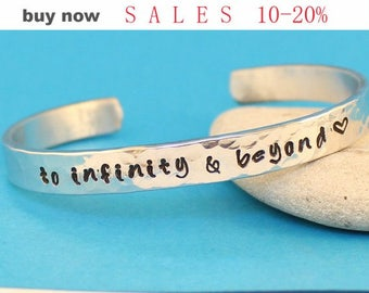 To Infinity and Beyond Bracelet - Hand Stamped.  Personalized Aluminum- Hand Stamped Cuff Bracelet.