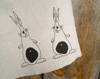 Easter Bunny Towel Easter Gift Easter Decor Rabbit Towel Linen Towel Hand Kitchen Towel Dish Towel Tea Towel Bunny Gift Birthday Gift