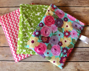 Reusable Snack bag - Florals - Chevron - Pink and Green - lunch bag