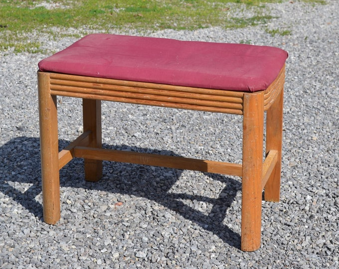 Vintage Art Deco Vanity Bench Upholstered Seat Maple Wood Piano Stool Dressing Table Stool PanchosPorch