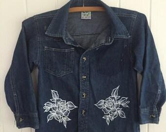 Kids custom denim shirt long sleeves