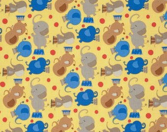 David Walker fabric Circus Act Elephant Big Top DW91 yellow blue lion monkey 100% Cotton Sewing Quilting Crafts nursery children by the yard