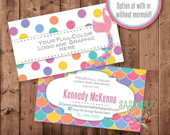 Business Cards | Personalized | Two-Sided with Your Info | Mermaid & Dots Pattern | DIGITAL PRINTABLE