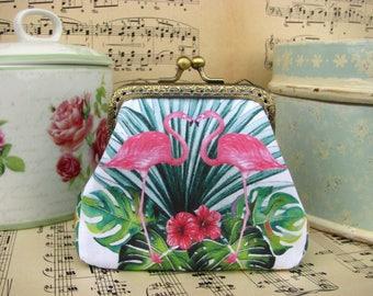 Coin purse clutch with flamingos, kiss lock purse, summer jungle
