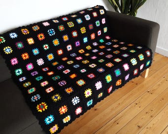 Crochet Afghan Granny Squares Blanket Rainbow Blanket  Rainbow Crochet Blanket Boho Blanket Black Blanket Colorful Blanket READY TO SHIP