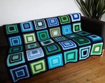Crochet Blanket Afghan Blanket Throw For Couch Blanket Throw Couch Throw Blue & Green Blanket READY TO SHIP
