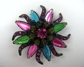 Unsigned Selini Brooch with Colorful Rhinestones