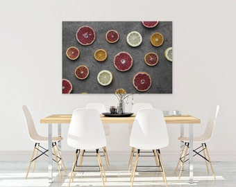 citrus v. three // food photography print // canvas print // kitchen wall art // dining room wall art // rustic wall art // citrus fruit