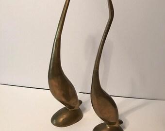 MCM pair of brass bird figurines