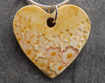 Ceramic Summer Garden Heart Pendant in Apricot and Rose