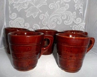 MARCREST Daisy & Dot Coffee Mugs-5 Cups-USA Art Pottery-Brown Stoneware-Table Meal-Vintage Dinnerware-Country Decor-Orphaned Treasure-020317