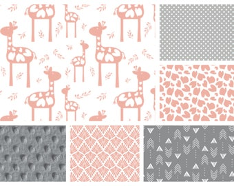 Baby Girl Giraffe Love Bedding - Blanket, Sheet and Crib Skirt in Pink and Grey