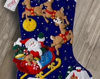 "Bucilla Christmas Night ~ 28"" Jumbo Felt Stocking Kit #86740 Santa Reindeer DIY"