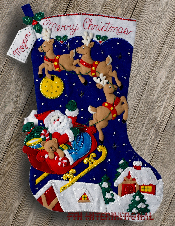 Bucilla Christmas Night 28 Jumbo Felt Stocking Kit