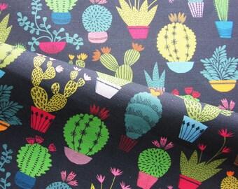 Dark cactus pattern tea towel modern graphic print