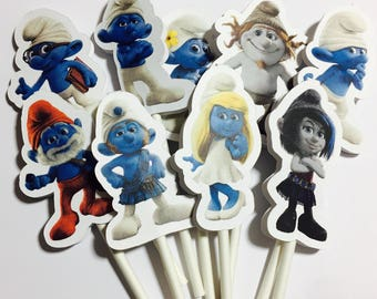 x12 Smurfs the Movie Characters Inspired Cupcake Toppers