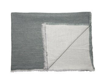 WOOLLEN THROW - Grey green. Reverse off white. Hand made in Kashmir, India