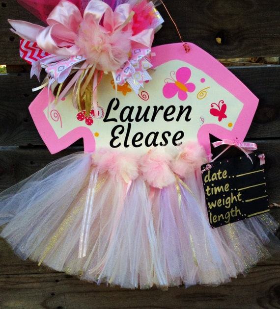 Baby girl hospital door hanger baby tutu door for Baby girl hospital door decoration