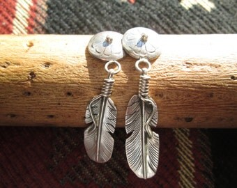 Long Sterling Silver Concho with Feather Post Dangle Earrings