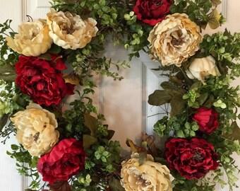 FRONT DOOR WREATH,Peony Wreath,Fall Wreath,Summer Wreath,Xmas Wreath, Winter Wreath,Spring Wreath,Boxwood Wreath,Year Round Wreath