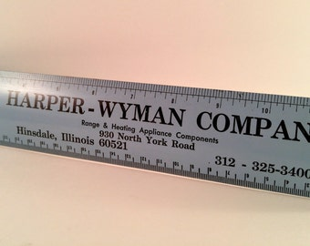 Vintage Blue Metal Advertising Ruler with Black Type. Harper Wyman Co. Range & Heating Appliance. Hinsdale, IL. Industrial Garage Decor.