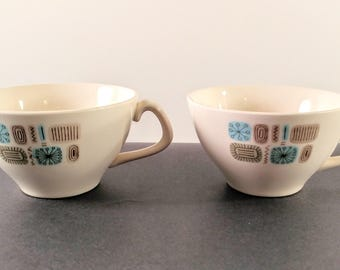 Set of Two Canonsburg Temporama Tea Cups with Aqua Blue and Beige Abstract, Atomic Pattern. Mid Century Modern Kitchen