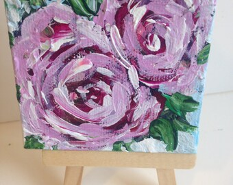 Original Painting  romantic roses pink and red
