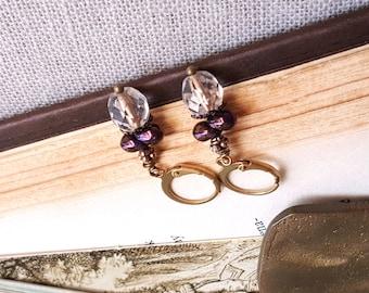 Petite Czech glass earrings Golden and Purple Iris Leverback earwires