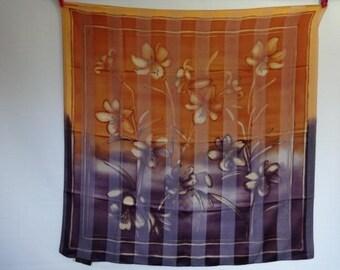 "Vintage Tie rack Scarf Floral Orange purple Scarf shawl  86cm x 86cm / 33.8"" x 33.8"""