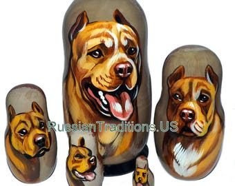 American Pit Bull Terrier on Five Russian Nesting Dolls. Dogs. Red.