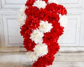 Paper Flower wedding bouquet roses bright red white ivory waterfall teardrop showstopper elegant hollywood princess winter theme bridal