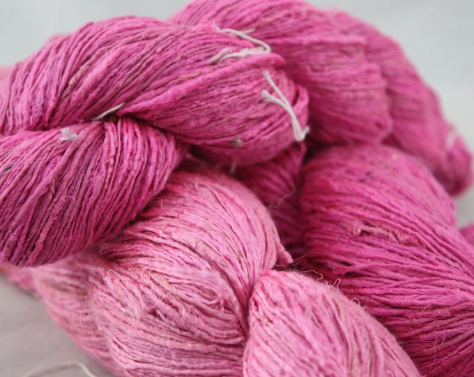 NEW***Handspun Recycled Mulberry Silk - Lippy Pink