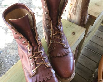 Amazing Justin Lace-Up Ropers Mens 7.5/Womens 9.5