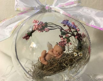 "Bless this Child...Polymer Life Like Baby 5 1/2""  Memorial Keepsake Ornament with glass base"
