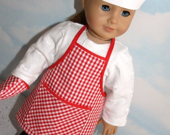 """18"""" Doll (like American Girl) Red and White Gingham BBQ Chef Set (Apron, Hat & Mitt)"""