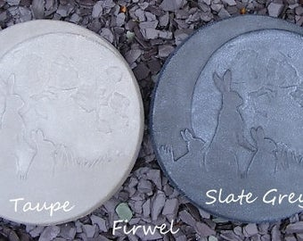 Moon Gazing Hare Family Stepping Stone / Wall Plaque~ Pagan wiccan garden ornament